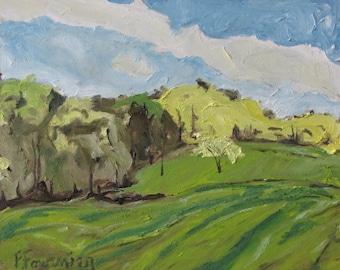 "Art Original Small Plein Air Oil Painting Impressionist Appalachian Pastural Landscape Fournier Quebec Canada ""Across A Spring Field 10 x 12"