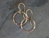 Eternity Earrings, Extra Small 14k Gold Filled Hoops, Little Round Hoops, Hammered Dangle Hoop Gold Filled Round Minimalist, French Ear Wire