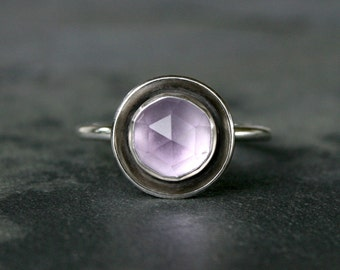 Rose Cut Amethyst Halo Ring, Sterling Silver, Lavender Purple Jewel, Faceted Gem, Radiant Orchid, Solitare or Stacking Style, Statement Ring