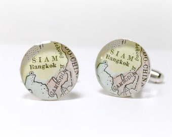 Bangkok Thailand 1899 Antique Map Cufflinks, anniversary gifts for men, brother gift, custom map cufflinks, map cuff links