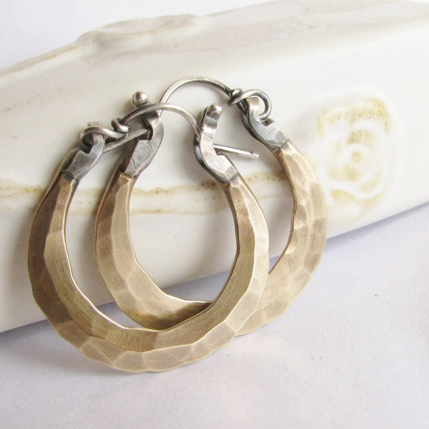 small bronze earrings hoop earrings forged sterling silver and. Black Bedroom Furniture Sets. Home Design Ideas