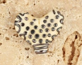 polka dotted ivory and metallic lampwork handmade glass heart bead by firefrost studio