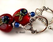 Valentines Day Sweetheart Handmade Lampwork Glass Heart Earrings SRA