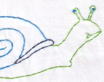 Snail Hand Embroidery Pattern, Garden, Shell, PDF