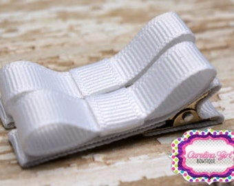 White Hair Clips Basic Tuxedo Clips Alligator Non Slip Barrettes for Babies Toddler Girl Set of 2