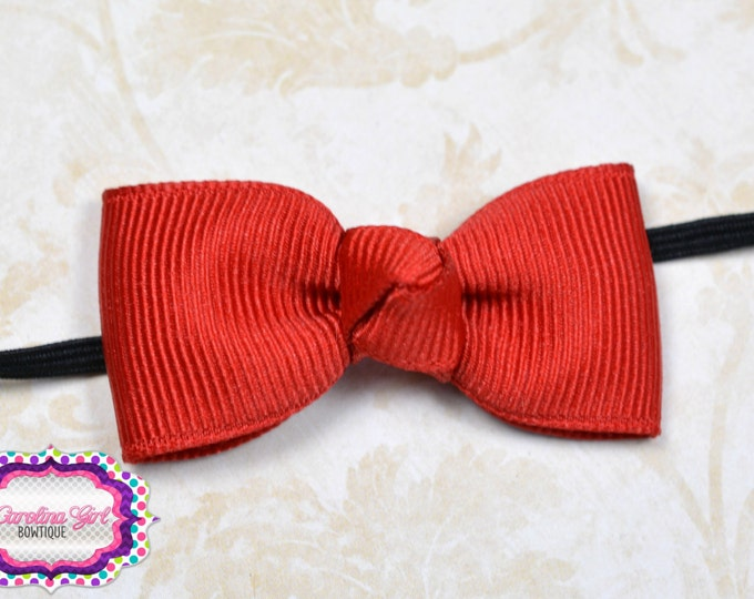 Red Newborn Headband - Small Headband Red Tiny Bow on Black Skinny Elastic - Girls Hair Bows