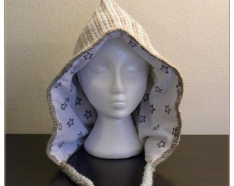 Woodland Winter Hood - baby blue - stars & stripes - wool hat lined with cotton flannel