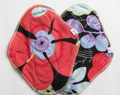 Cloth Mama Pad Set of 2 .. Coral Flowers Pantyliners 8 inch FREE Shipping