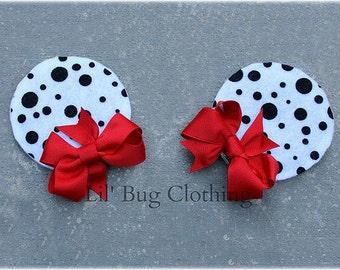 Black White Dalmatian Black  White Polk Dot Girls Minnie Mouse Ears Hair Clip Accessories