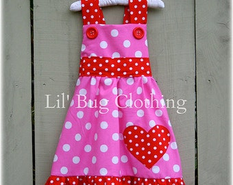 Valentines Heart  Pink and Red White Polka Dot Jumper Dress