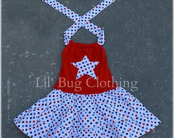 4th of July Custom Boutique Clothing Red White Blue Dot Tiered Halter Dress