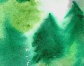 Forest blanket - Original Painting - 4 x 6 - Nature Art -by Niina Niskanen