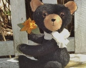 Primitive Black Bear with flower FINISHED ITEM Sweet Meadows Farm pattern. (HAFAIR)