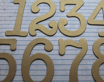 3 inch tall brushed/matte gold or silver metallic chipboard die cut numbers [choose quantity: plain/sticker]