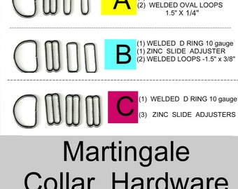 "10 SETS - 1 1/2"" - Martingale Dog Collar Kits, 1 1/2 inch, 40 Pieces - Your Choice of Hardware Package"