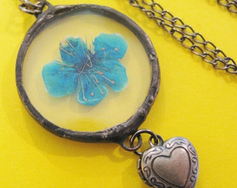 blue flower necklace - real flower necklace - pressed flower jewelry - locket necklace - heart necklace