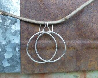 Rustic Stamped Circle Drop Earrings Dangle Hoop earrings Sterling silver