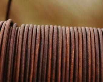2mm Antique Brown Leather Cord for Making Wrap Bracelets