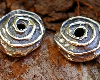 Two Spiral Bead Caps in Sterling Silver, AD56
