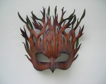 Woodland entity leather mask: original Halloween Mardi gras Masquerade Pagan Samhain Burning man Steampunk mask