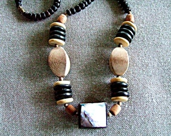 Fun Boho Necklace Tribal Long Necklace Unusual Vintage Jewelry Tahitian Mother of Pearl Brown Shell Black Wood Necklace Cool Gift for Her