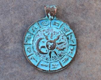 1 Greek 35mm Green Patina Zodiac Pendant - Sun and Moon