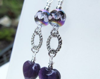 SALE Amethyst Hearts and Purple Iridescent Beads Sterling Silver Earrings