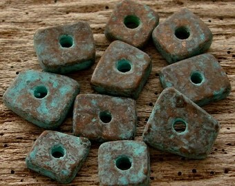 GREEK PATINA CHIPS - (10) Patina Spacer Chips