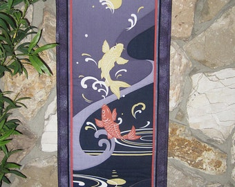 Quilted Wall Hanging Sun Climbing Koi Japanese Asian Design Scroll Size