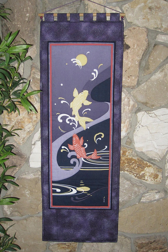 Quilted wall hanging sun climbing koi by japanesqueaccents for Koi wall hanging