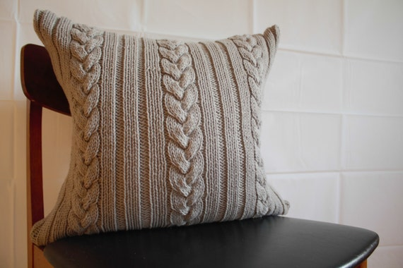 Knotted Cable Cushion - hand knit in grey