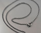 Oxidized sterling silver chain / subtle jewelry / minimalist necklace / simple jewellery / chain for pendant - - choose your perfect length