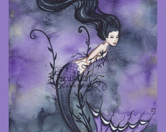 Dark Seaweed  Mermaid Print  from Original Watercolor Painting by Camille Grimshaw