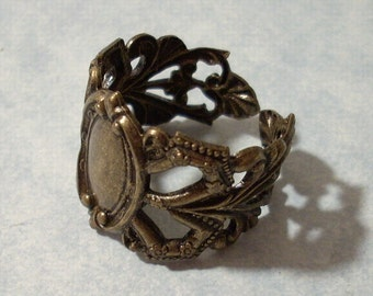 Adjustable Brass Filigree Ring with 12 x 8mm Medallion Center