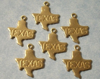 6 Tiny Brass Texas Charms 13mm Brass State Charms Engraved Texas Charms
