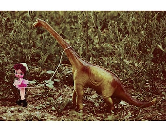 dinosaur doll print aceo size COME ON BOY