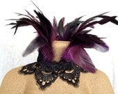 Maleficent choker - purple and black feather necklace - goth Victorian choker - ready to ship - feather ruff jewelry - purple crown lace