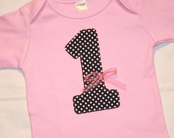 Girls 1st Birthday Number 1 Shirt Navy Polkadot on Light Pink with bow - 12-18 month long sleeve