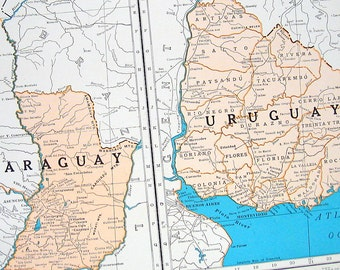 Peru map etsy paraguay and uruguay map peru ecuador and brazil map 1936 vintage map from gumiabroncs Gallery
