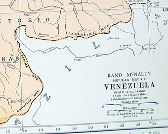 Venezuela Map - 1936 Vintage Map from World Atlas 11 x 14