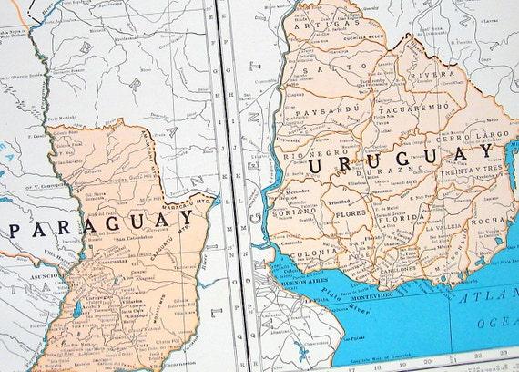 Paraguay and uruguay map peru ecuador and brazil map 1936 gumiabroncs Choice Image
