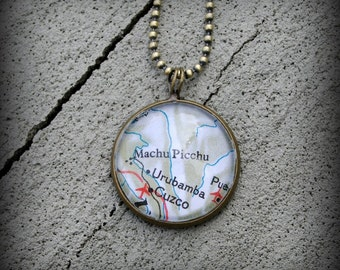 Machu Picchu Map Necklace