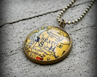 Seattle Map Necklace