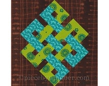 Eternity Knot rotary quick cut quilt block pattern, PDF, celtic knot pattern, easy quilt pattern, infinity knot quilt medallion, rotary cut,