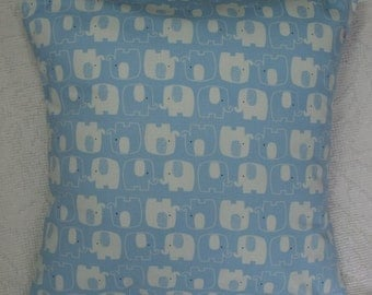 Blue Elephants Throw Pillow Cover - Camelot Cotton Woodland Adventures Blue Elephants Travel Pillow Cover  (16-361,362**)
