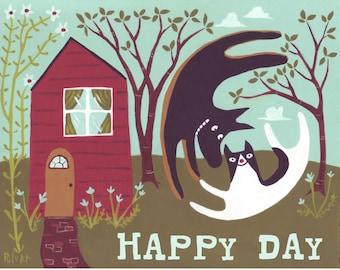 Dog & Cat Art Card - Happy Day - German Shepherd and Tuxedo All Occasion Note Card Birthday Wedding Anniversary Congratulations Graduation