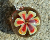 Lampwork Boro Glass Pendant - Focal Bead - FLOWER red and yellow