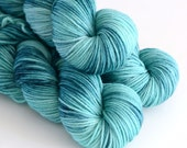 Hand Dyed Worsted Yarn - Superwash Merino 218 Yards - Kelpie - Variegated Turquoise