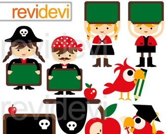 Back to school clipart / Pirate classroom / digital images / kids, chalkboard - commercial use clipart, instant download