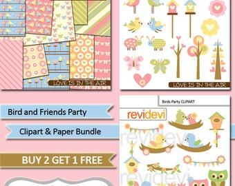 Birds clipart, digital papers sale / pastel colors clip art bird, spring garden, flowers / commercial use graphics